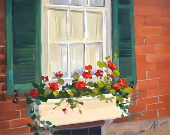 Red Geraniums oil painting on panel