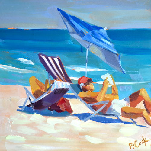 Beach Life, 6x6 oil on panel