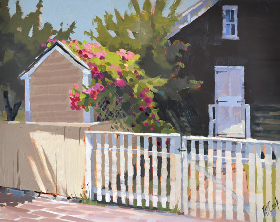 Sunlit Roses, 11x14 oil on panel, original painting