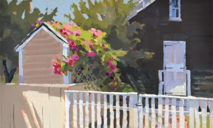 Pretty Sunlit Roses Cascading on a Rooftop Oil Painting