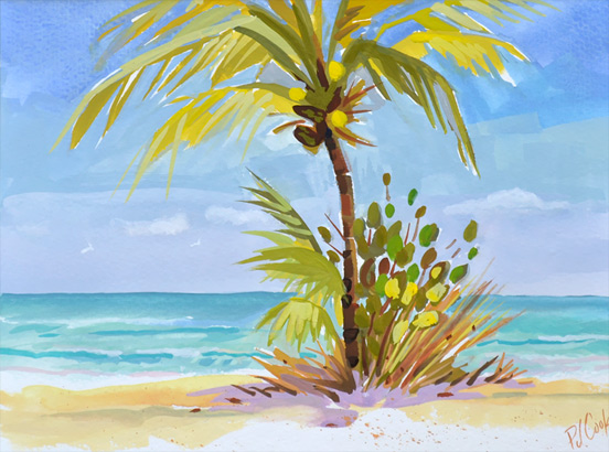 palm tree with the beach and ocean original painting.