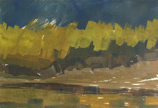 painting underway of great blue heron in a salt marsh