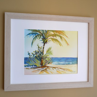 Palm View Ocean Painting 8 x 10 gouache painting in picture frame by PJ Cook.