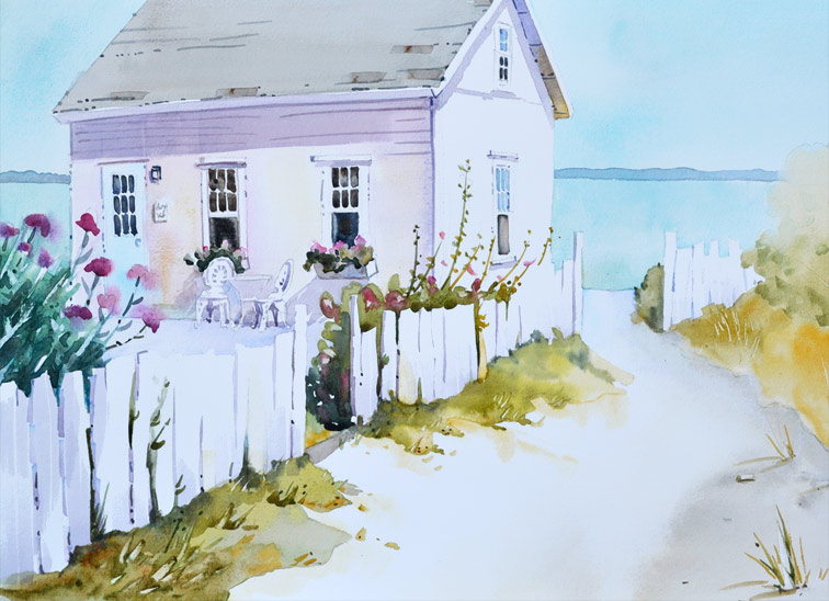 "Island Retreat, 14"" x 20"" watercolor is a beach cottage complete with flowers and picket fence."