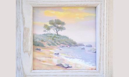 Harkness Park Beach Foggy Sunrise Oil Painting