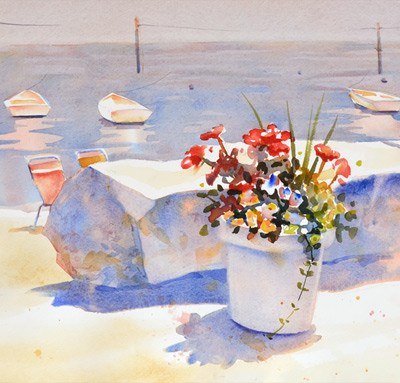 August Accent Seaside Flowers, 11 x 14 watercolor