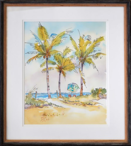 Afternoon Lull Fort Lauderdale Beach, watercolor with pen and ink 10 x 12 with frame 17x15 overall size.