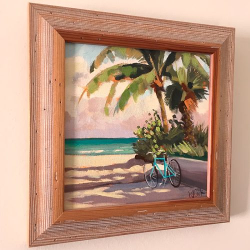 Ocean beach bicycle and palm trees featured in 6x6 framed oil painting.