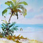 Watercolor Lesson Beach Scene and Palm Tree