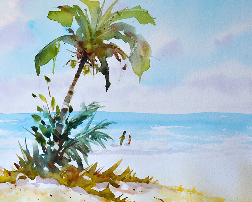 Florida beach scene with palm tree watercolor 14x10
