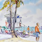 Paint a Beach Scene in Watercolor and Line