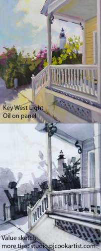 Key West Light, finished oil painting and value sketch for this 8x10 oil on panel by PJ Cook.
