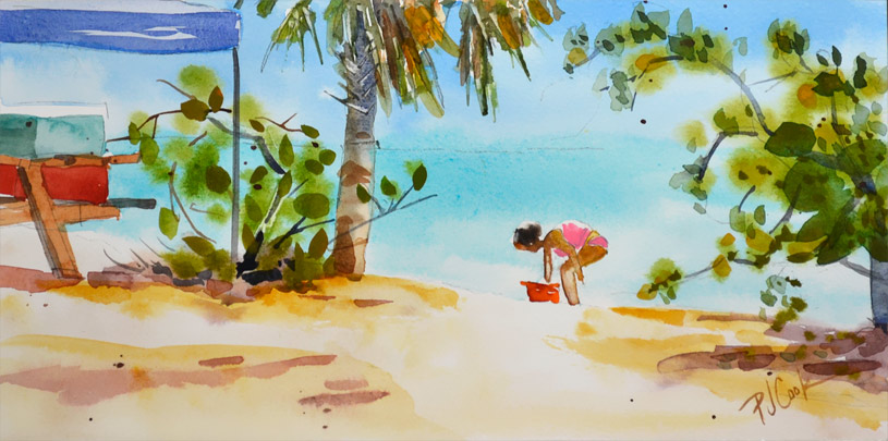 Key West beach scene with girl collecting seashells in a bucket original watercolor painting.