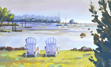 Harborside Gouache Painting