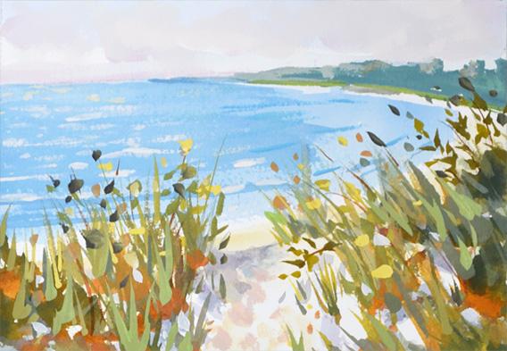 Beach Path View, 5x7 gouache paint on watercolor paper, seascape