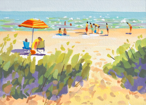 beachscape scene with beach umbrella, sand and the ocean. 5x7 gouache on paper by PJ Cook©2018