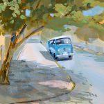 VW Bus Gouache Painting