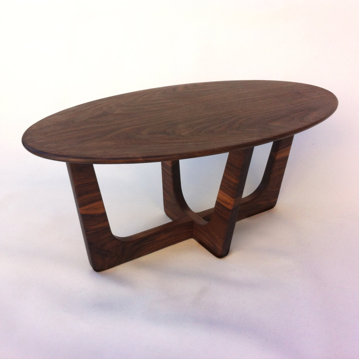 mid century modern elliptical solid walnut coffee table
