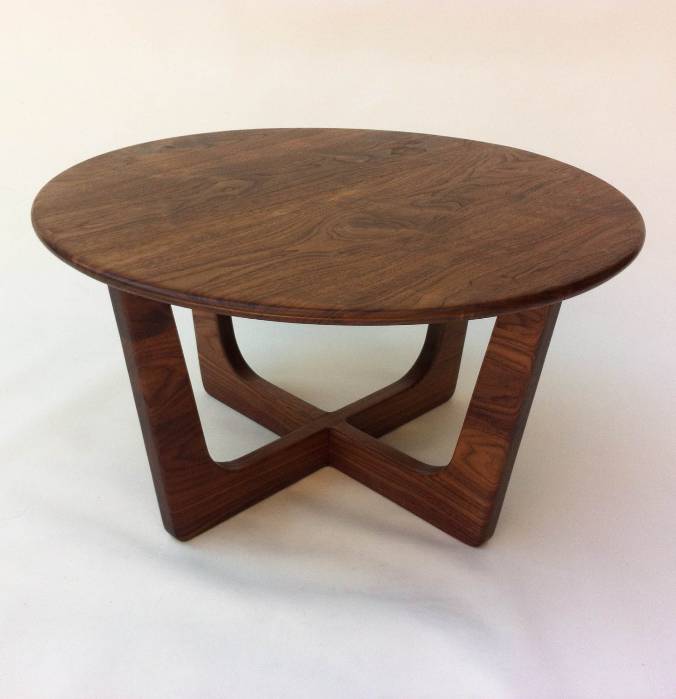 - Solid Walnut Round Mid Century Modern Coffee Table