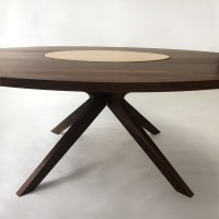 4fa05bd5eae29 Modern Solid Walnut Round Dining Table with Maple Lazy Susan