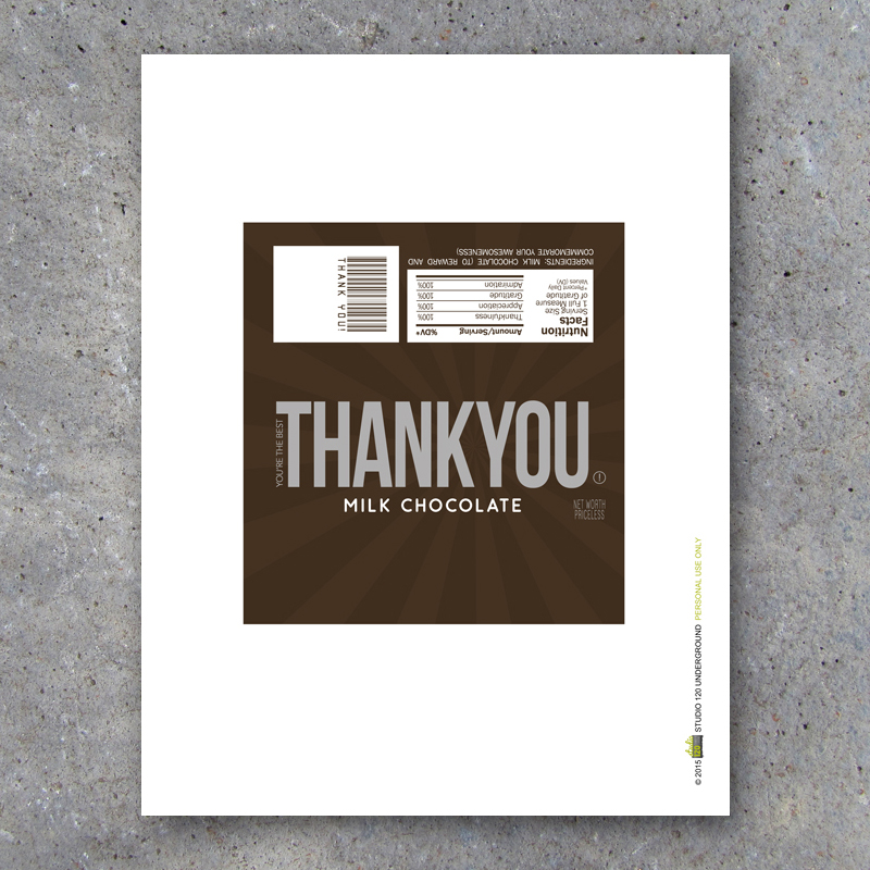 Thank You Candy Bar Wrappers Printable Instant Download Studio 120 Underground