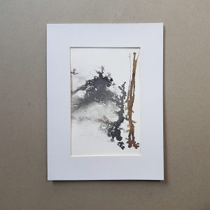 Abstract ink wash in black and brown