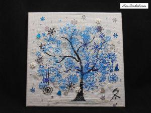 Blue Winter Tree Cross Stitch