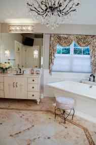 Feminine master bath, furniture-like vanity