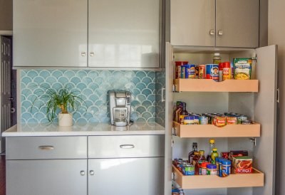 Blue mermaid backsplash open pantry