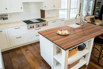 Walnut butcher block island countertop