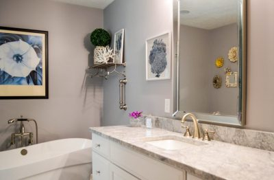 Condo master bathroom with freestanding tub