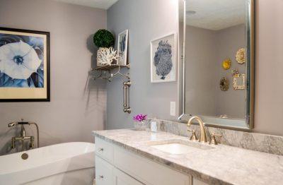 Condo master bathroom with freestanding tub