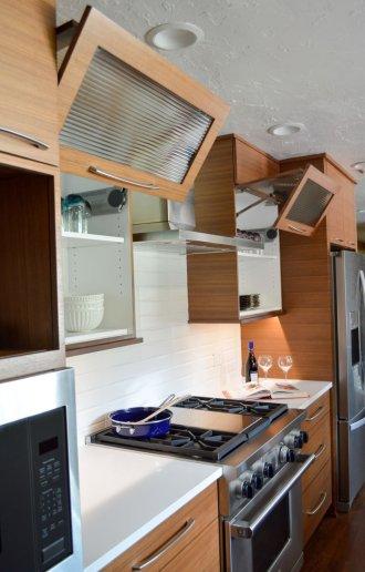 Custom swing-up cabinet doors