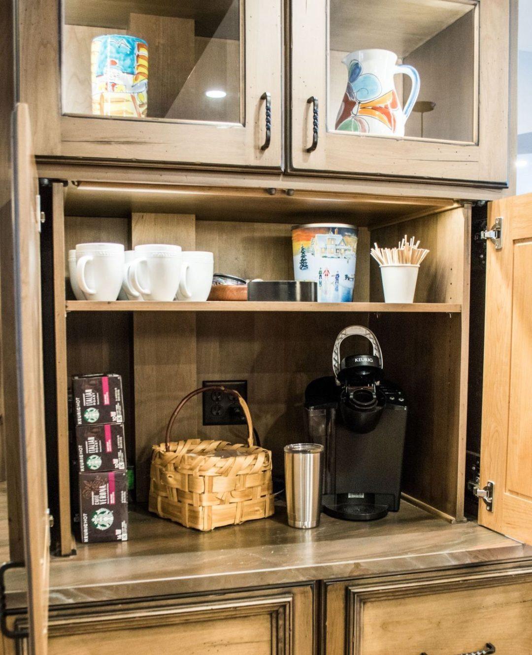 Coffee station appliance garage
