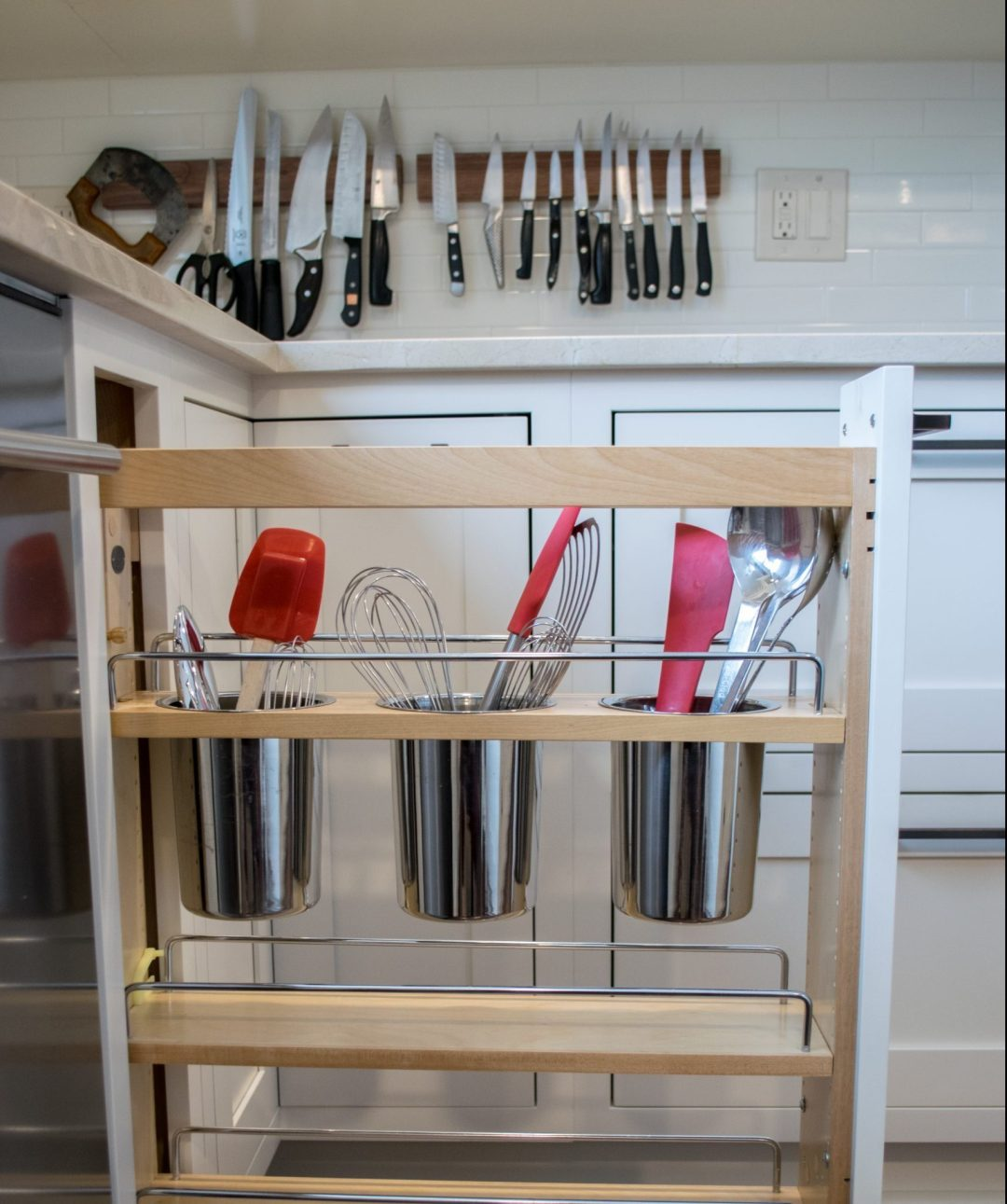 pull out utensil drawer and kitchen storage