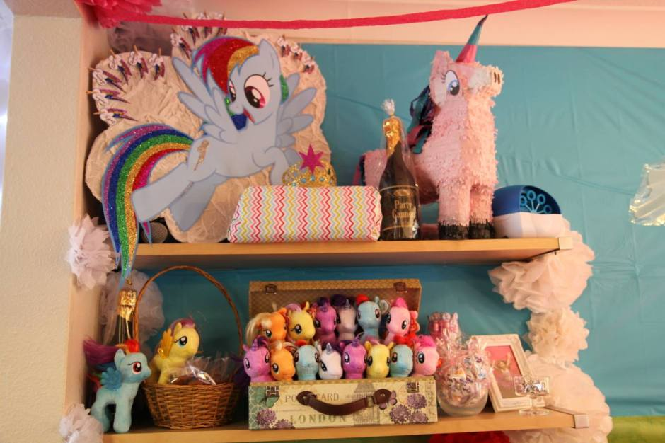 'Pin the cutie mark on rainbow dash', pony piñata and the going home pony gifts.
