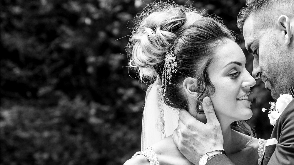 Bride and groom romantic moment. i Love you, embrace, kiss