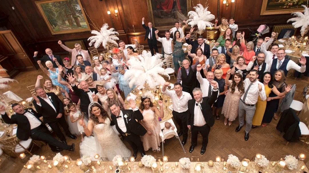 Wedding group shot Thornton Manor