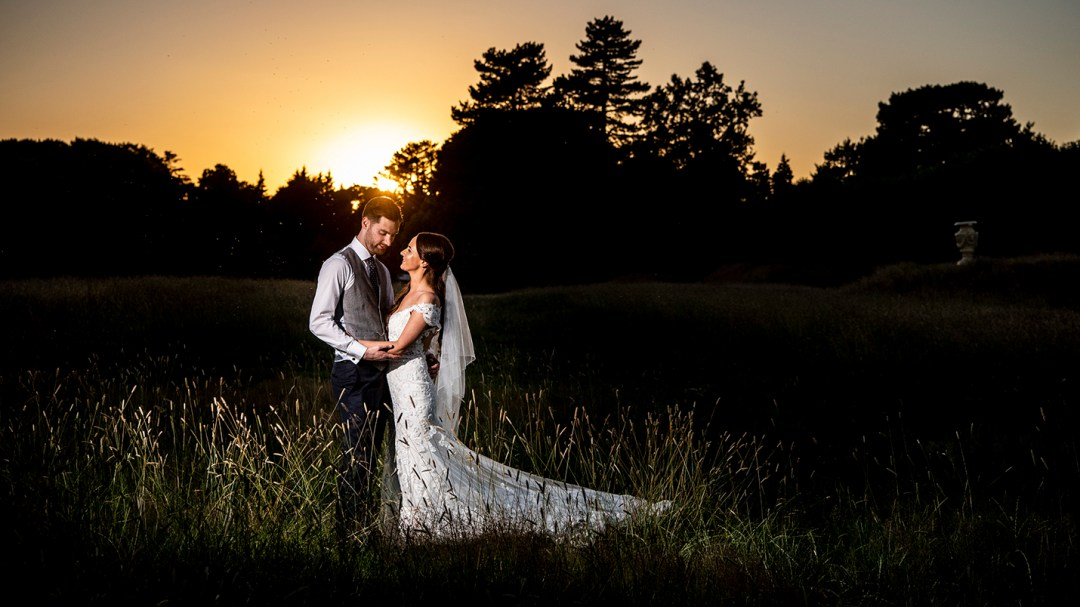 sunset bride and groom