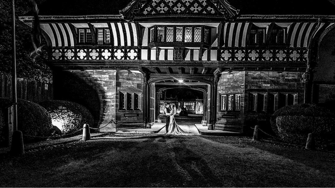 Gatehouse to Thornton Manor night time image