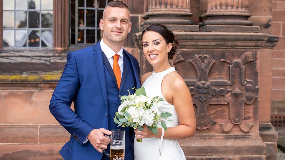 happy couple at wedding