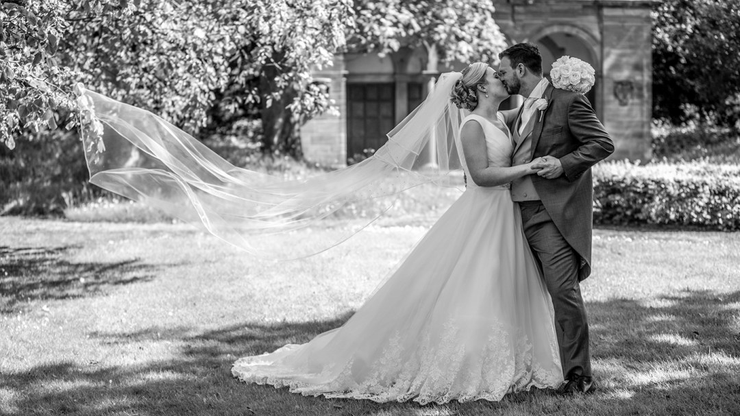 bridal veil blows in wind