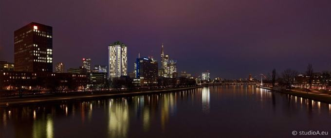 3D visualization Main river in Frankfurt at night by studioA Germany