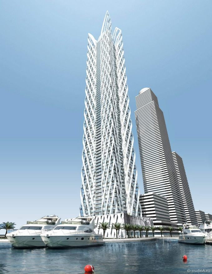 3D architectural visualization - skyscraper design by Jo Franzke Architects, Frankfurt - Waterfront in Dubai