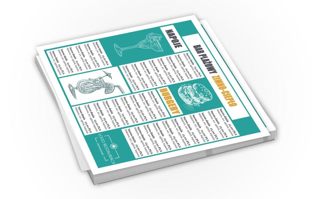 Przykładowa karta menu - wizualizacja karty menu