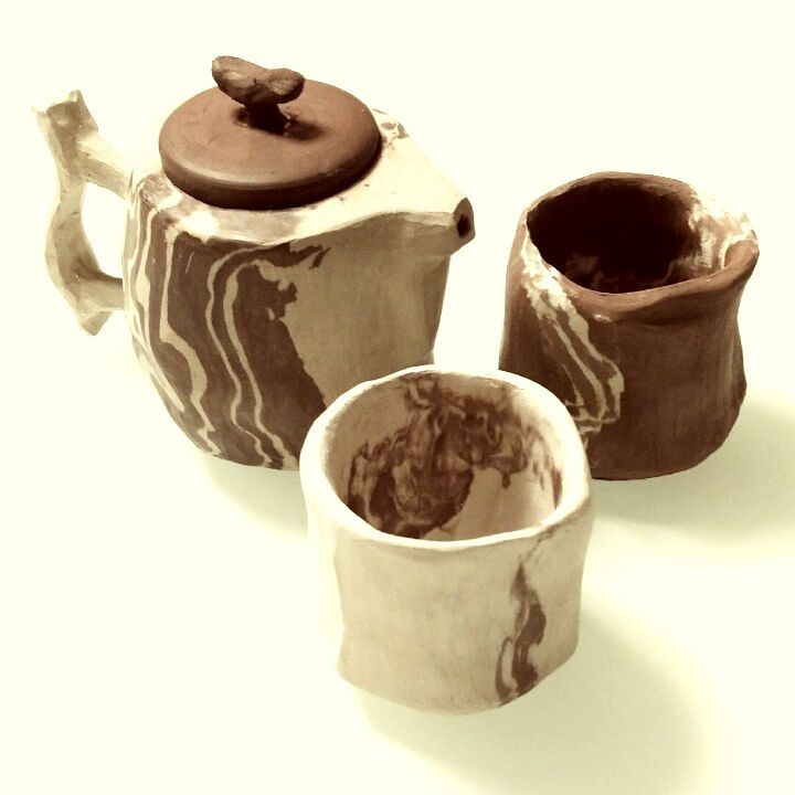 TEA FOR TWO From a single spout Love pours out and fills our cups Melting between lips  #singapore #ceramics #pottery #teaset #wabisabi #nerikomi #studioasobi #handmade #madeinsg #haiku