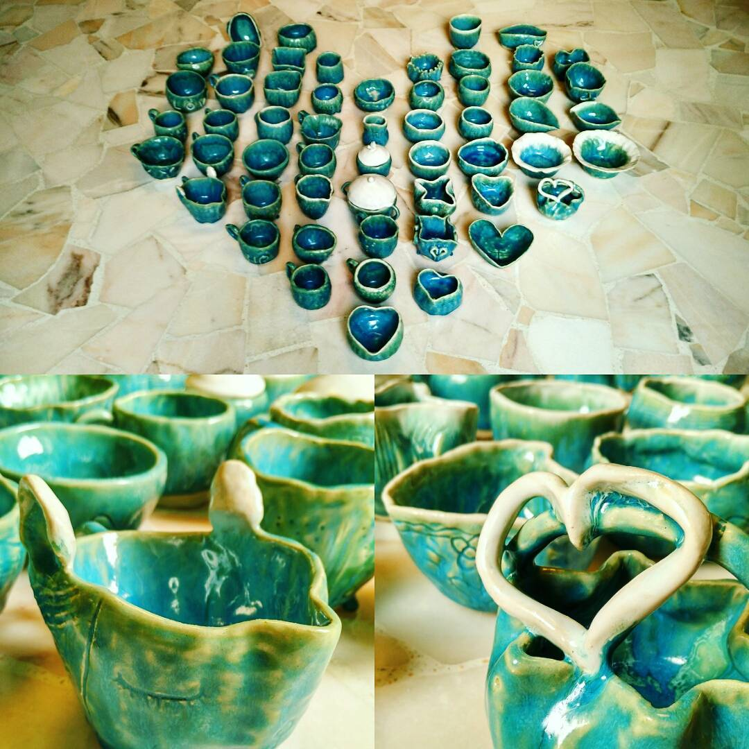 After spending two wonderful evenings with the cheerful and talented staff at St Luke's Elder Care, it's really no surprise to see such beautiful pieces of art from each and every one of the participants. Really thankful to have been able to witness these creations from hearts full of love!  #studioasobi #workshop #madeinsg #gratitude #pottery #ceramics #handmade