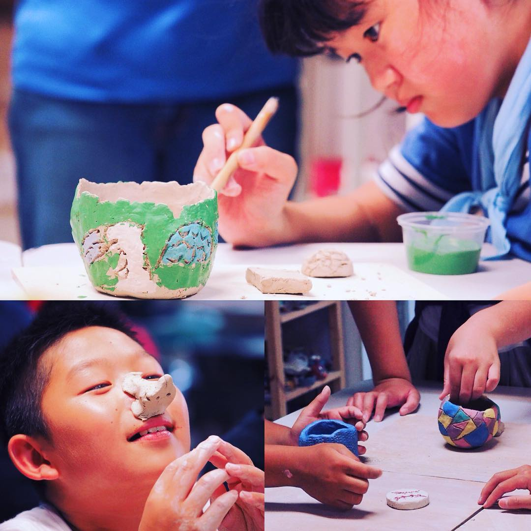 Last Sunday, we had the privilege of participating in a meaningful and interesting art therapy programme for a group of 9 to 12-year-olds from Fukushima, whose lives were dramatically altered by the disaster in 2011.  It was a joy to see how these children took to clay, exploring its possibilities and freely expressing themselves!  We are thankful for the group of volunteers and translators; Goodman Ceramic Studio for the venue and firing support; as well as Jacqueline for taking the photos:) If you are interested to find out more about the programme or to be a befriender, the group is here till 6 Aug and is hosted by Today Is The Day Foundation. Their works from the art therapy sessions would also be displayed for 2 weeks at Scape starting from 7 Aug!  24th July was also our 5th year wedding anniversary, and this was a very special way to celebrate our journey together as a couple! We thank God for blessing our love for each other and enabling us to love others:) #arttherapy #clay #pottery #ceramics #workshop #love #hope #joy #studioasobi #singapore