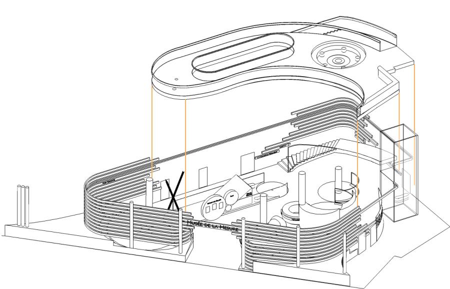 Axonométrie de l'implantation de la mezzanine