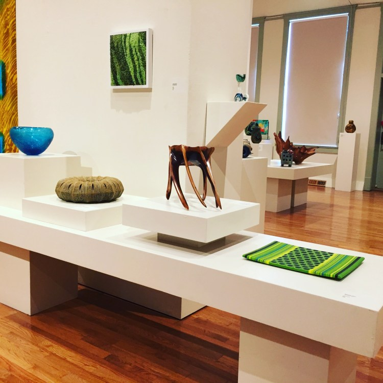Photo of My Pet Moss artwork hanging with other juried artworks at the Honolulu Museum of Art Linekona building gallery.